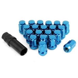 16pcs Blue Heptagon Closed Ended Lug Nuts