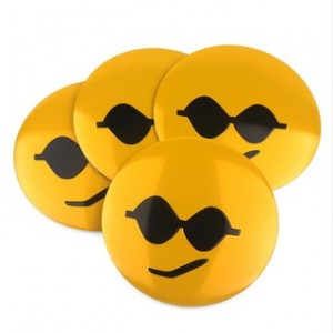 4pcs Cool Sun Glasses Emoji Emblem Car Wheel Center Hub Cap Caps Badge Sticker Decal 60mm