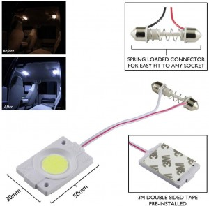 2.4W White Cob Led Festoon Interior Car Dome Light 12V