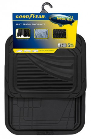Goodyear® Floor Rubber Mat Premium Carpet Black & Grey - 5pc (4204)