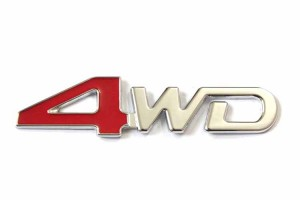 4WD Red & Chrome Jeep Off Road Mania Badge Emblem Metal Alloy Decal Sticker Logo