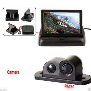 2in1 Car Parking Sensor Reversing Radar Rear Camera + 4.3'' Rearview Folding LCD Monitor