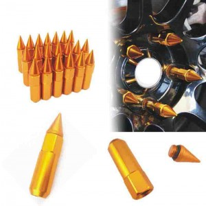 20pcs M12X1.25 Gold Car Spiked Lug Wheel Nuts Extended Tuner