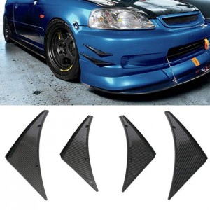 Carbon Fiber Look Canards Kit 4-Piece Front/Rear Bumper Fins Universal Fit