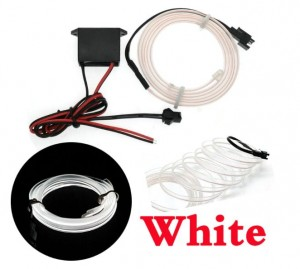 White 5 Feet Flexible EL Wire Glowing Neon Car Light + Inverter