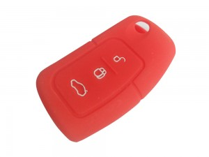 3 Button Smart Key  Red Silicone Cover Fit For Ford Ecosport