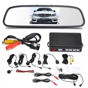 "4.3"" Rearview Parking System Car Reversing Mirror Kit 4 Sensors Camera 12V"