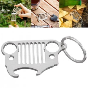 Pink Jeep Wrangler Style TJ Stainless Steel Front Grille Keychain Bottle opener with Ring