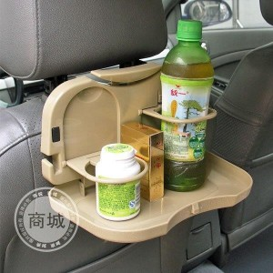 Beige Foldable Car Headrest Mounted Meal Tray And Cup / Glass Holder