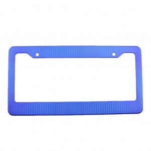 1pc Blue Carbon Fiber Look License Plate Frame Cover Auto Front & Rear Universal