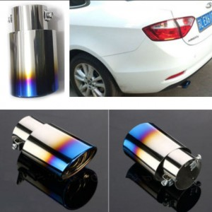 Burnt Titanium Car Stainless Steel Exhaust Tail Pipes Muffler (Oval)