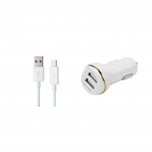 3.1A Dual Ports USB Car Charger for Ios/Android With USB Cable